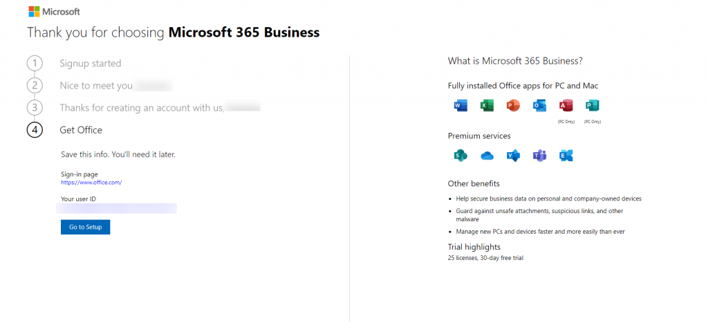 Completing the Microsoft M365 Tenant Sign-up process.