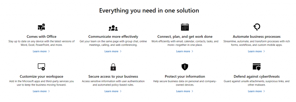 Everything you need in one solution Microsoft 365